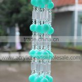 Factory Wholesale Handmade Round Light Green with Acrylic Crystal Beaded Curtains Door Beads Curtain For Home Decoration.