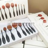 Black Plastic oval brush set Powder/Blush/Foundation/Contour/Eyeshadow/Eyeliner/Concealer Brush Cosmetics Tool Set 10pcs