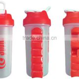 700ml protein shaker with Built-in Daily Pill Box Organizer