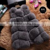 CN-R-13 China Supplier Womens Luxury Long Red Fox Gilet Real Silver Fox Fur Vests