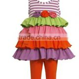 Girls Multi-Tiered Knit Summer Fall Flower Dress Leggings Outfit