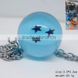 Japanese Cartoon Dragon Ball Z Anime Blue Crystal Ball Three Star Necklace Fashion Jewelry Decoration Wholesale
