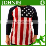 2015 fashion china made couple design high Quality bulk blank custom american flag T-shirt