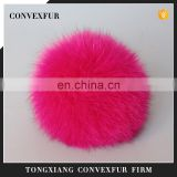 Hot pink real fox fur pompom fashion fur plush pompon accessory