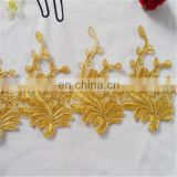 Gold embroidery bullion wire water soluble lace fabric decorative lace tape