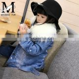 Fashion Lovely Wholesale Denim Jacket Real Rabbit Fur Coat Children's Jacket With Fur