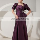 Purple Gorgeous Sleeveless Evening Gowns Beaded Floor Length Ruched Mother Of The Bride Dress With Jacket