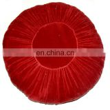 Indian Cotton Red Valvet Floor Area Cushion Indian Summer Ottoman Pouf, Round pouf Wholesale