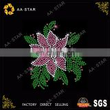 Pink flower korean crystals rhinestone motif with green leaves design