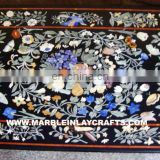 Natural Black Marble Inlaid Coffee Table Tops, Pietre Dure Marble Coffee Table Tops