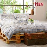 Plaid home/Hotel use bed Linen, 100% Linen cotton bedding sets with pillow shams