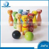 Custom Printed Cartoon Puppet Bowling Toy Wood                                                                         Quality Choice