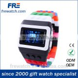hot selling eco-friendly plastic watch with digital movement fashion plastic rainbow watch