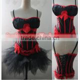 wholesale Junhou brand ladies strap red black corset with padded bra