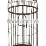Metal Free Standing Bird Cage, Antique Brown, Round, Home Garden