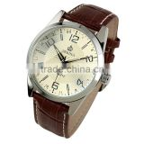 New Men Casual Beige Dial Leather Strap Quartz Elegance Wrist Watch WM312