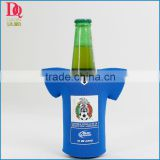 Blue football shirt beer bottle cooler