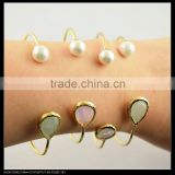 LFD-B0031 Wholesale Pearl Gold Plated Bracelet , Different Shape Crystal Bead Charm Cuff Bangle