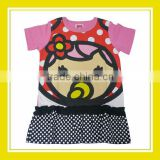2016 Fashion Products Bros Baby Rinne Black Dots Girl Printed Short Sleeve Pink Cotton Dress