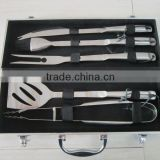 5 pcs hollow handle BBQ tools set with aluminum case