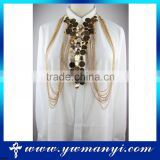 Factory wholesale new gold chain design sexy body chains rhinestone chain jewelry B0009