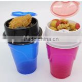 Cheap disposable Movie Plastic 2 in 1 Snack & Drink Cup One Cup with Straw Assorted Colors