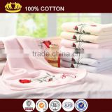 100% cotton solid color velour soft rose embroidery Valentine's day mother's day gift face towel
