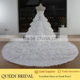 Real Works China Custom Made Luxury Crystals Cathedral/Royal Train Wedding Dresses