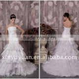 Sexy A Line Strapless Ruffle Long Train Organza Floor Length Beaded Wedding Gown Bridal Dress RP0010 Dresses