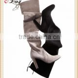 O11-1 Factory Cheap Fashion Over Knee Winter Boots Suede Upper High Heel Rubber sole boots