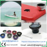 Awesome photo gadgets magnetic camera lens 180 degree fisheye+0.67x wide-angle+10x macro 3in1 lens kit 2016 new products