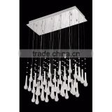 1018-4 a chrome finished metal canopy assorted precious glass and crystal decorations 14 Light Chandelier