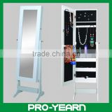 Wooden Mirrored Jewellery Cabinet Floor Standing Chinese Furniture with Four Shelves and Concise Appearance