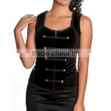 NEW BLACK COTTON OVERBUST CORSET
