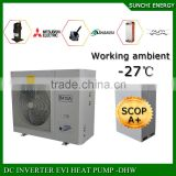 Germany -25C winter floor heating 100-300sq meter room 12kw/19kw/35kw defrost EVI air source heat pump water heater split system