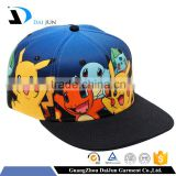 China Factory OEM New Design 6 Panel Cotton Custom Printing Game Caps Flexfit Pokemon Snapbacks Hats Caps For Child