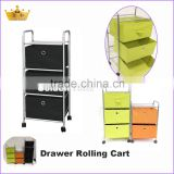 New design 3 drawers canvas folding cart