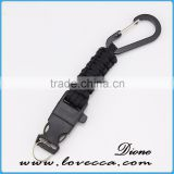 new product Paracord Firestarter Keychain/ Carabiner Paracord Keychain with bottle opener