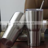 Stainless Steel Tumbler 30 oz - Sliding Lid FREE Straw and Brush-Double Wall Vacuum Insulated Travel Cup