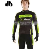 Hot sale thermal fleece cycling jersey / long sleeve bicycle bib short set for men in cold weather