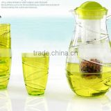 No.1 yiwu & ningbo exporting commission agent wanted clear good quality cold water jug set with 4 cups plastic teapoot set