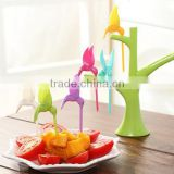 CY119 Plastic Creative Fruit Fork Bird Tree Decorative Household Daily Necessities Dessert Forks