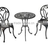 Popular flower cast Aluminum garden metal bistro set metallic table and chair for garden use for hot sale