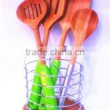 New Durable Natural Bamboo Kitchen Tools With Silicone Handle