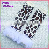 White lace trim ruffled legging warmers cotton knit socks animal print leg warmer