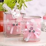 Lovely Pink Glass Candle Holder Girl Baby Shower Decoration Souvenir Gifts
