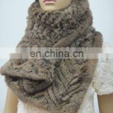 3058# Women's Knit Rabbit Fur Bigh Scarf, Genuine Rabbit Fur Rectangle Wave Style Scarf