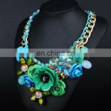 Hot Sale 2014 Multicolour Flower Cotton Rope Knitted Chunky Statement necklaces