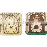 Bear wooden paintable wall clock