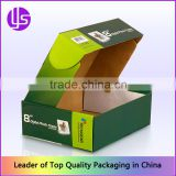 Custom E Flute Corrugated Cardboard Color Printed Roll End Tuck Top Paper Packaging Box with the Dust Flaps